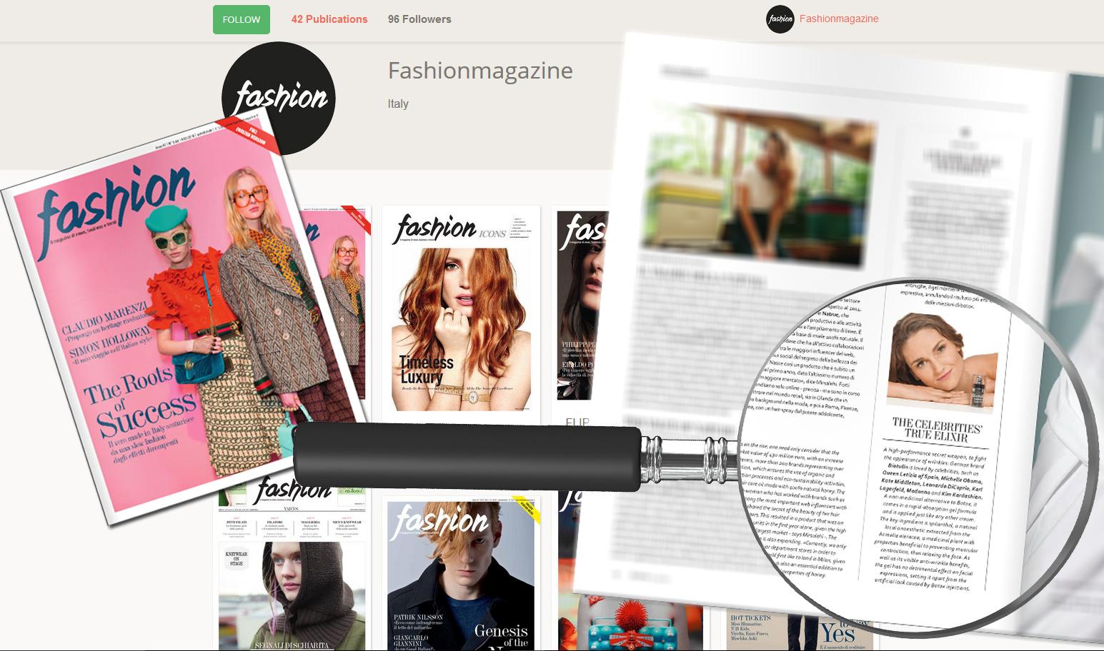 Biotulin in der Ausgabe fashionmagazine Italien